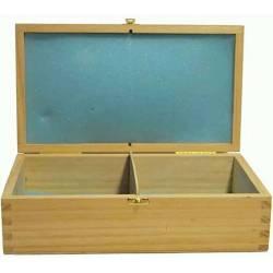 Estuche de madera apertura frontal  22 cm. para guardar piezas ajedrez