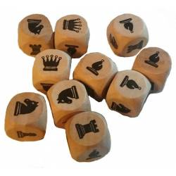 Dices with the drawings of chess pieces