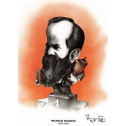 Caricatura campeones del mundo ajedrez Wilhelm Steinitz