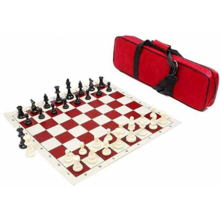 Conjunto ajedrez competición tablero, piezas y bolsa viaje