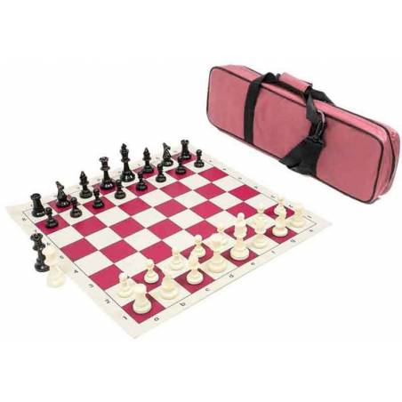 Set competitive chess board, pieces and travel bag