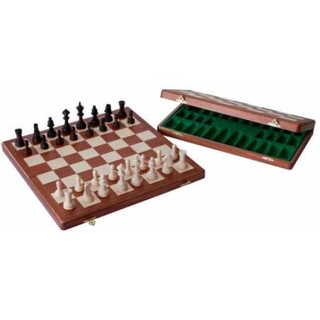 Conjunto ajedrez madera caoba 26, 37 o 47 cm.