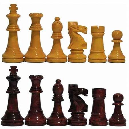 Peces escacs fusta Staunton 6 color mel, vermell i negre 97 mm.