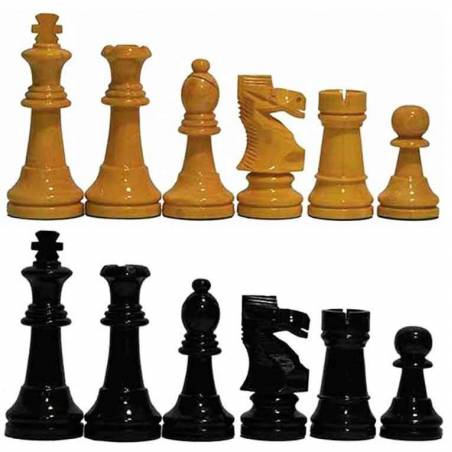Peces escacs fusta Staunton 6 mel, vermell i negre