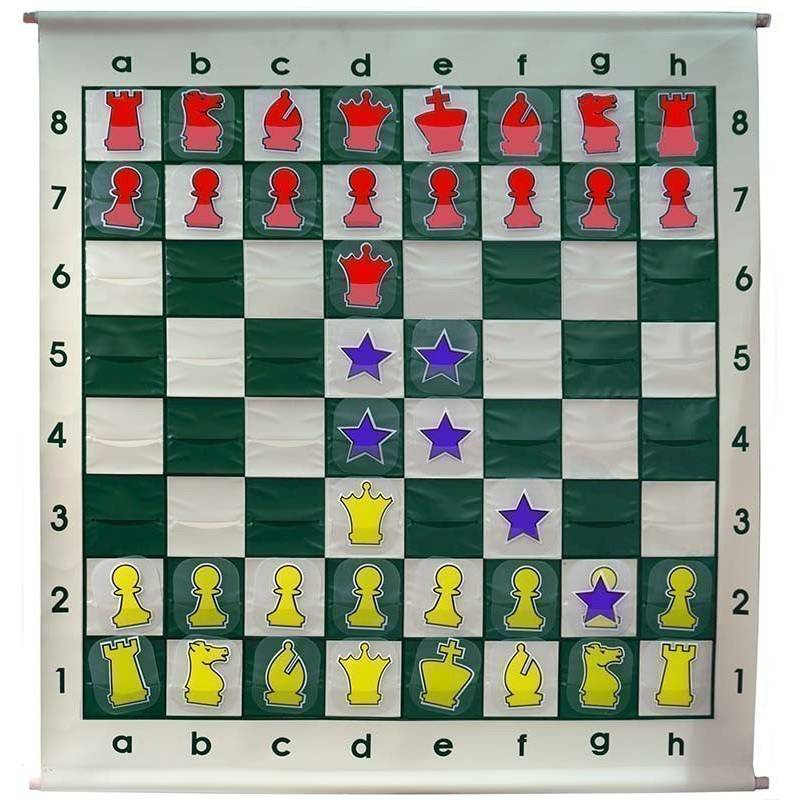 Tablero ajedrez mural piezas cartón