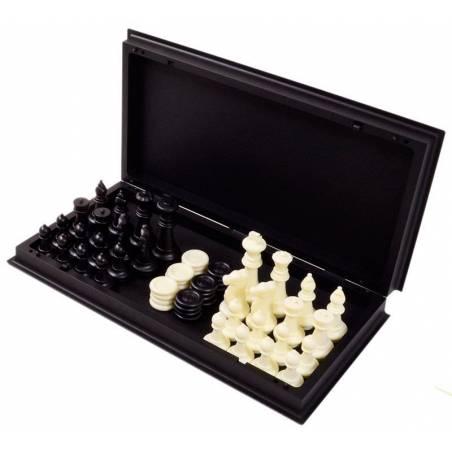 Conjunto ajedrez y damas magnetico 25 cm.