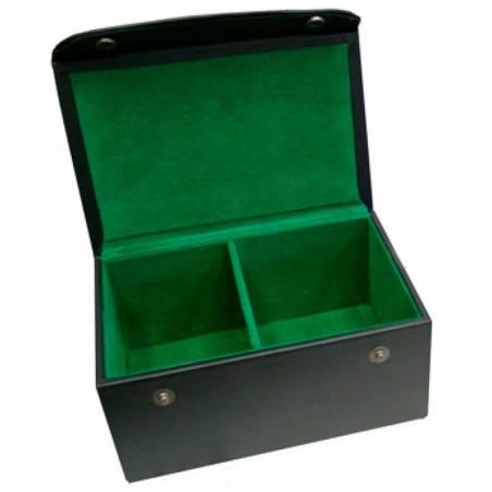 Caixa de cuir amb folre verd guardar peces escacs
