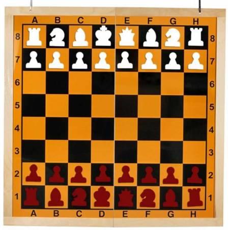 Tauler mural escacs plegable en 2 fondo groc
