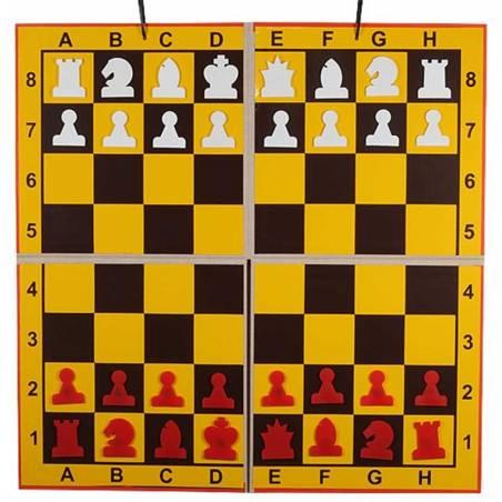 Tauler mural escacs plegable en 4 parts fons groc