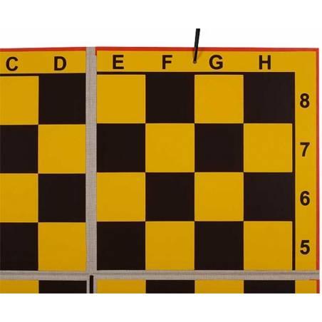 Tablero mural ajedrez plegable en 4 partes fondo amarillo