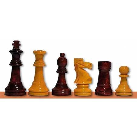 Piezas ajedrez madera Staunton 6 color miel, rojo y negro 97 mm.