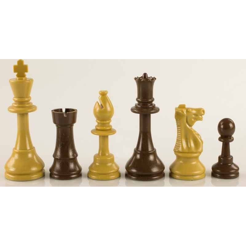 Chess plastic pieces Model Beige / Black Pattern
