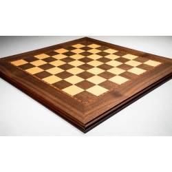 Tablero ajedrez madera nogal con moldura. Rechapados Ferrer