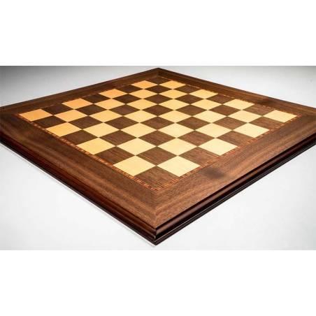 Tauler escacs Fusta de noguera amb motllura. Rechapados Ferrer