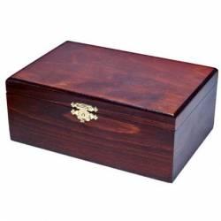 Caixa mitjana de fusta color fosc 22x15 cm.