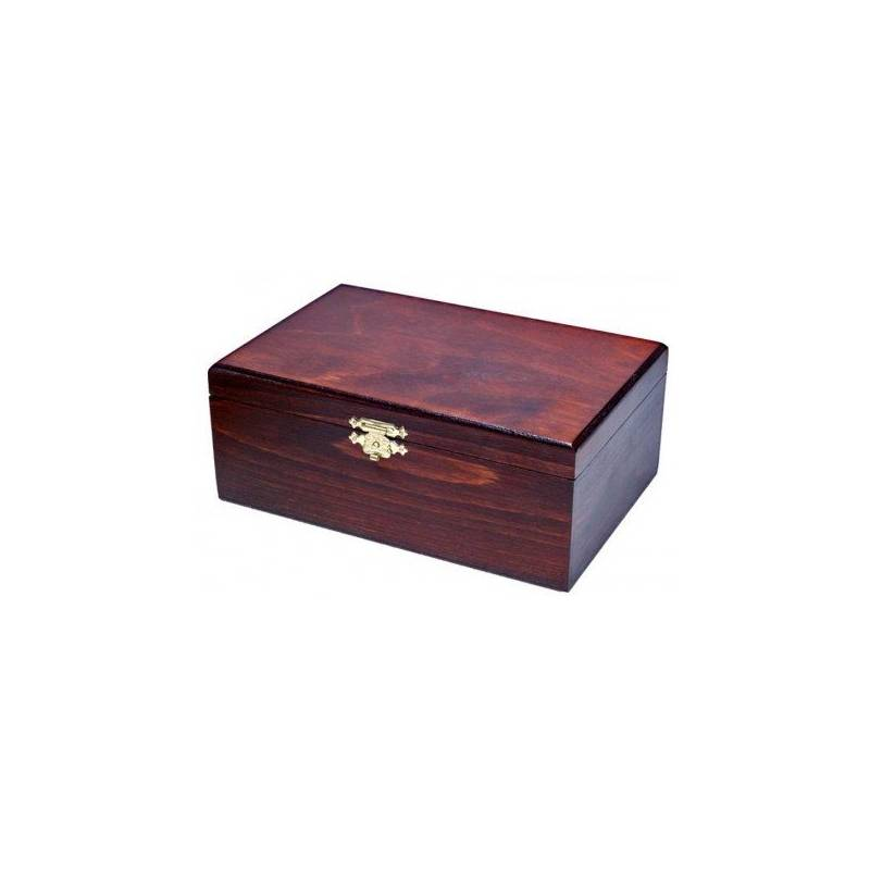 Caja mediana de madera color oscuro 22x15 cm.