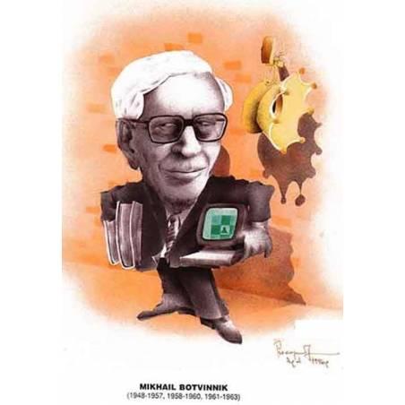 Caricatura campeones del mundo Mihail Botvinnik