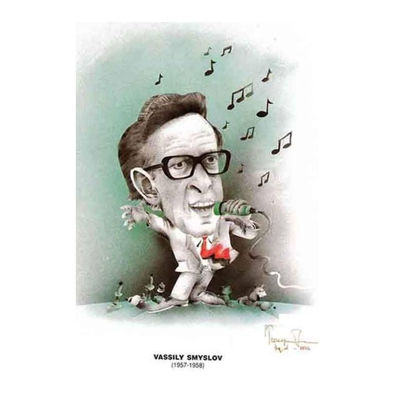 Caricatura campeones del mundo Vasily Smyslov