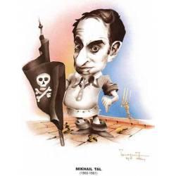 Caricatura campeones del mundo Mikhail Tal