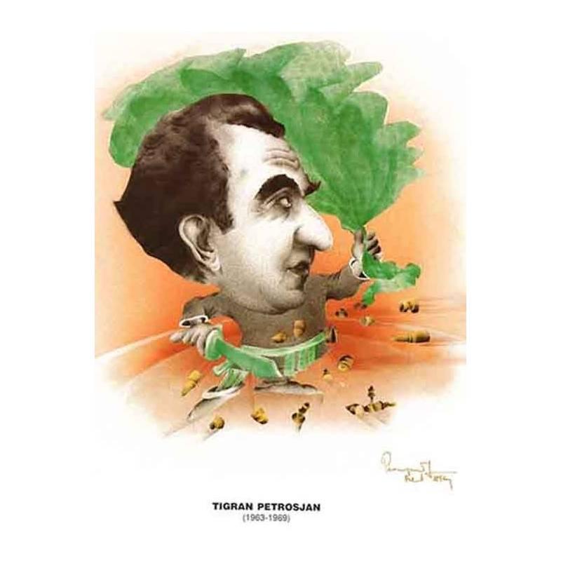 Caricatura campeones del mundo Tigran Petrosian