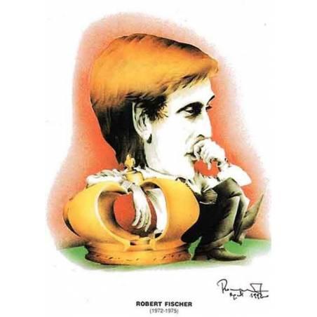 Caricatura campeones del mundo Bobby Fischer