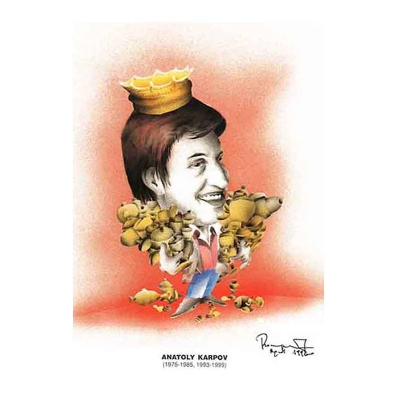 Caricatura campeones del mundo Anatoly Karpov