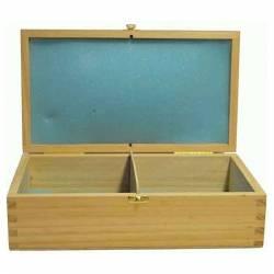 Estuche de madera apertura frontal  26,5 cm. para guardar piezas ajedrez