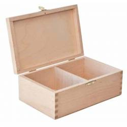 Large light colored wooden case for storing chess pieces
