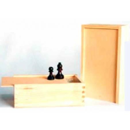 Caixa amb tapa superior lliscant mitjana per guardar peces escacs