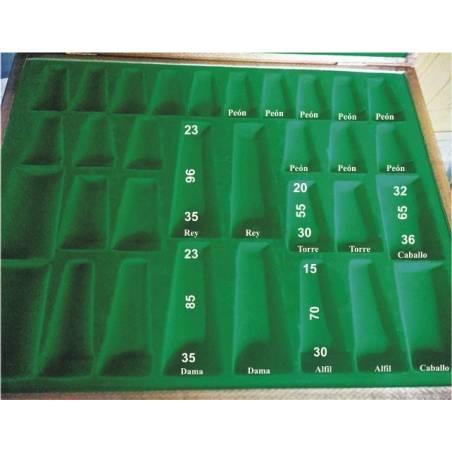 Caixa plana guardar peces escacs color Caoba.