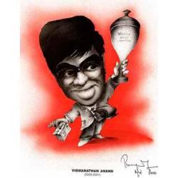 Caricatura campeones del mundo Viswanathan Anand