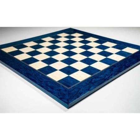 Tablero ajedrez madera Azul brillo deluxe  50 cm.