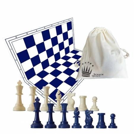 Tablero y piezas de ajedrez color azul