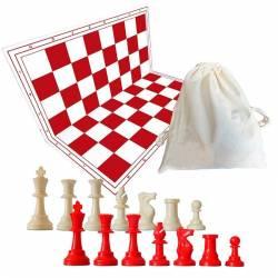 Tablero y piezas de ajedrezde color rojo