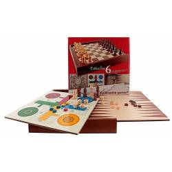 Estuche 6 en 1, ajedrez, damas, parchis, oca, escalera y backgammon