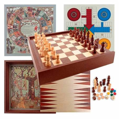 6 in 1 case, chess, checkers, parchis, goose, ladder and backgammon