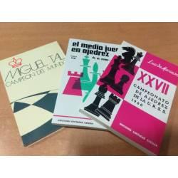 Lot oferta 3 llibres d'escacs Tal, Campionat URSS i El mig joc