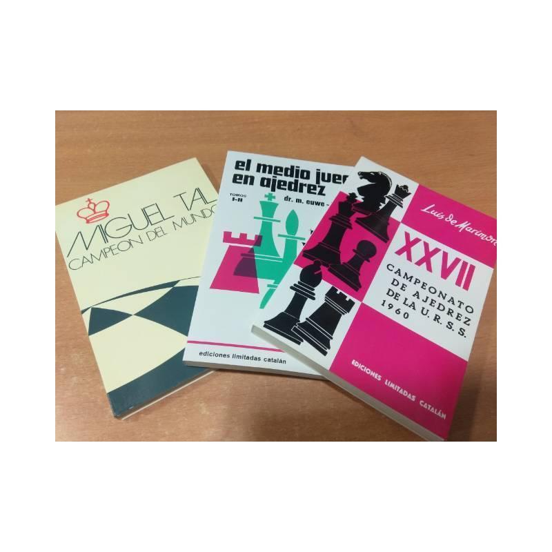 Lote 3 libros de ajedrez Tal, Campeonato URSS y El medio juego