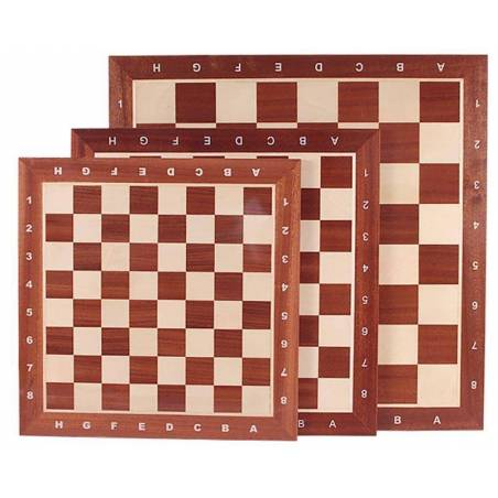 Tauler escacs fusta de Caoba amb coordenades 48 cm.