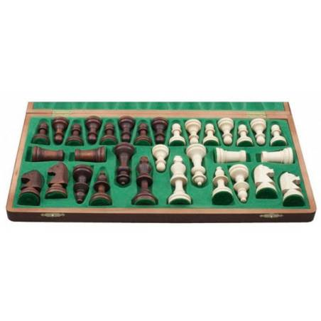 Walnut wood chess set 37 cm.