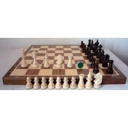 Walnut wood chess set 37 cm.