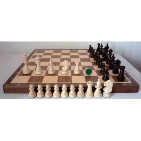 Conjunt d'escacs fusta de noguera 37 cm.