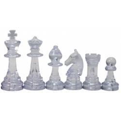 Piezas de ajedrez de plastico ambar y transparente