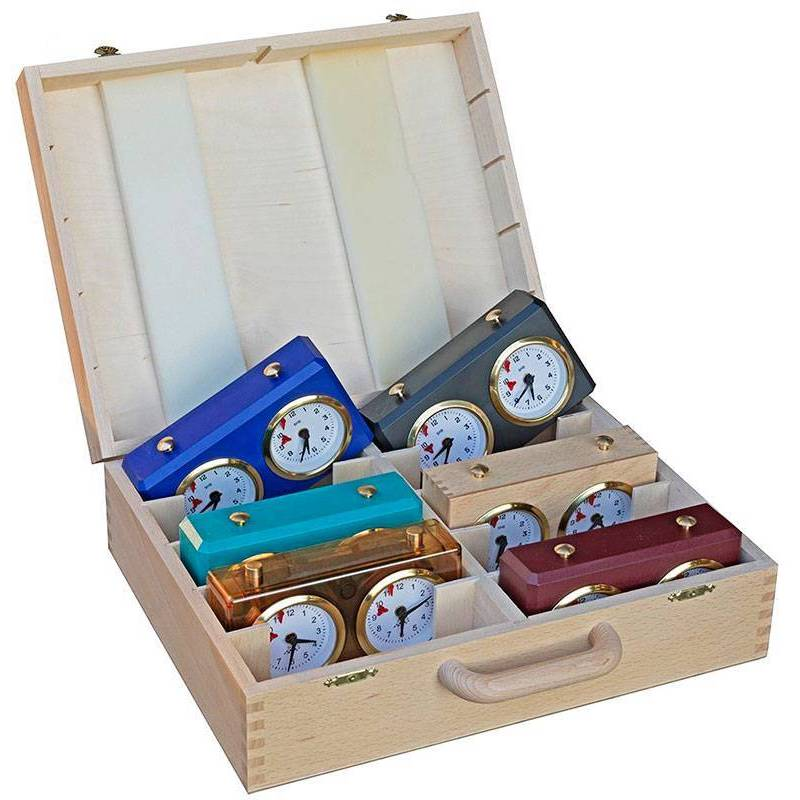 Caja para guardar 10 relojes BHB Turnier, madera, de colores, transparentes.
