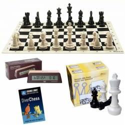 Oferta tablero y piezas de ajedrez para colegios. Con reloj DGT 1002